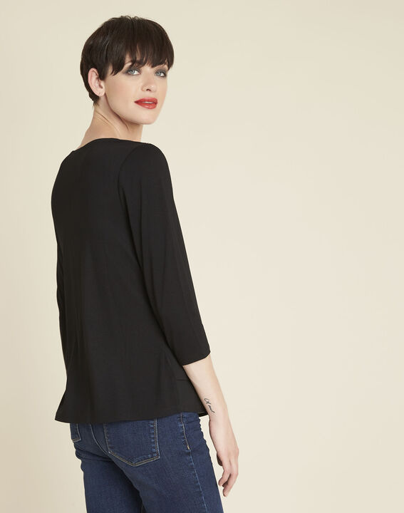 Coraolie black blouse with jewelled detailing on the shoulders (4) - 1-2-3