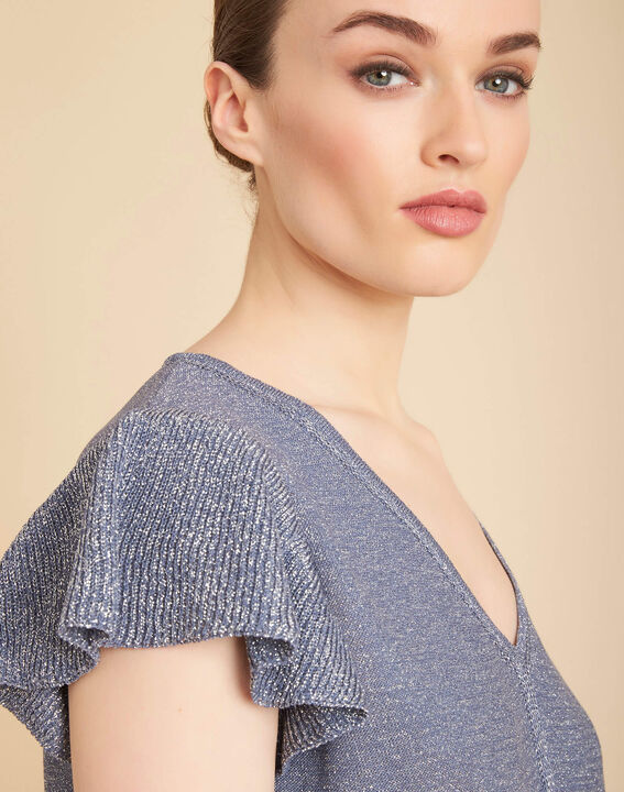 Lichtindigo trui van glanzend dun tricot Naiade PhotoZ | 1-2-3