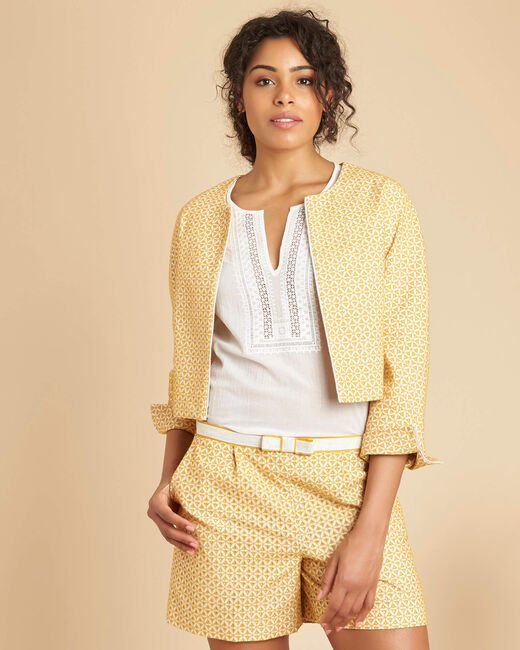 Cumin yellow embroidered bolero (2) - 1-2-3