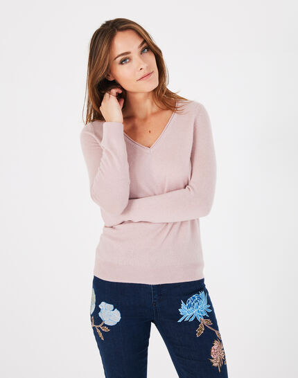 Pivoine pink V-neck sweater in cashmere (3) - 1-2-3
