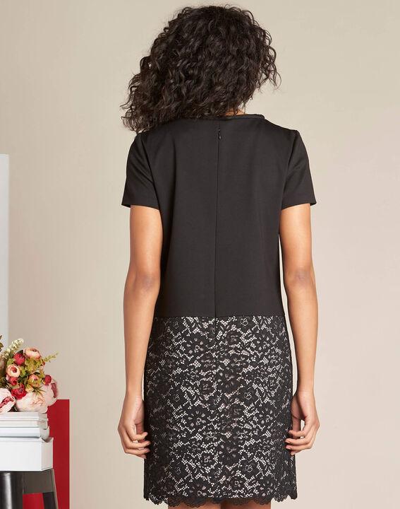 Ylune dual-fabric black straight-cut lace dress (4) - 1-2-3