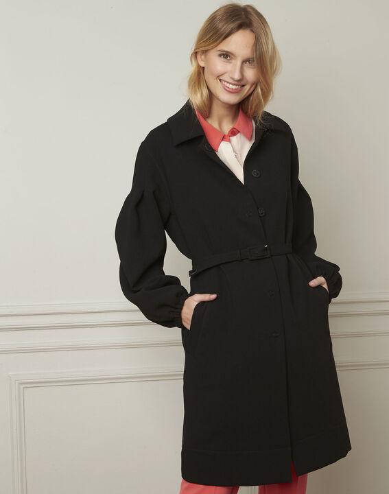Manteau noir ceinturé manches resserrées Diva (1) - Maison 123