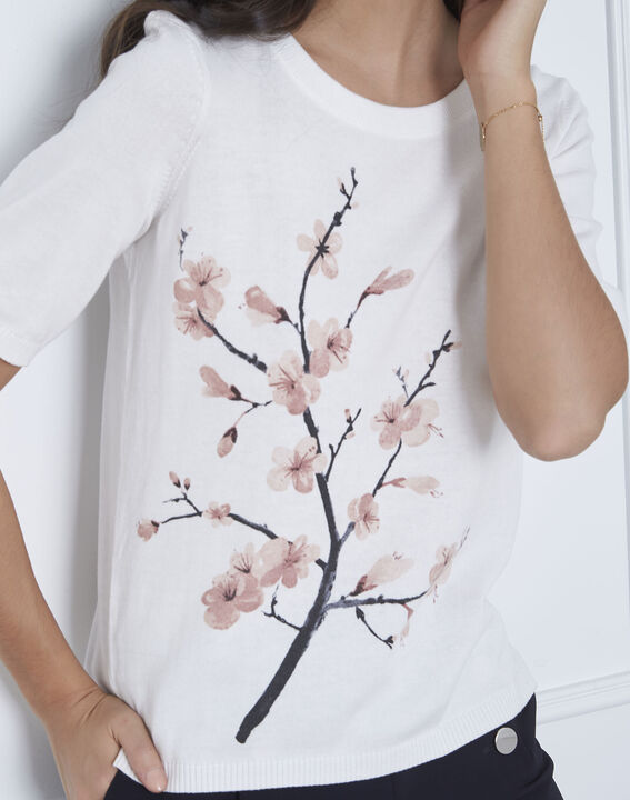Ecrufarbener Pullover mit floralem Print-Muster Aubepine (3) - Maison 123