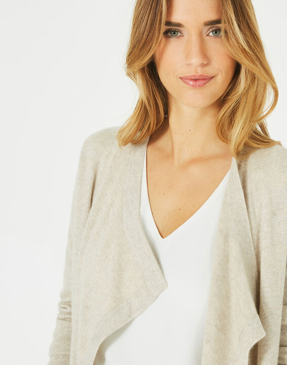 Pimprenelle beige, shiny cashmere waterfall cardigan (3) - 1-2-3