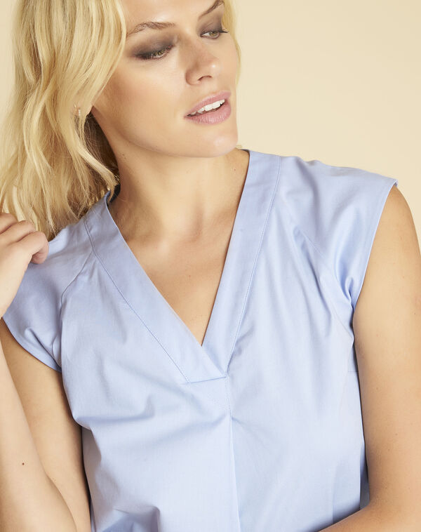 Chantal azure blue V-neck top in poplin (2) - 1-2-3