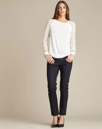 Ecaille fine white sweater in a dual fabric with lace ecru.