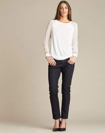 Witte dunne sweater uit twee materialen met kant ecaille ecru.