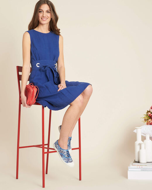 Poppy blue linen dress with belt (2) - 1-2-3