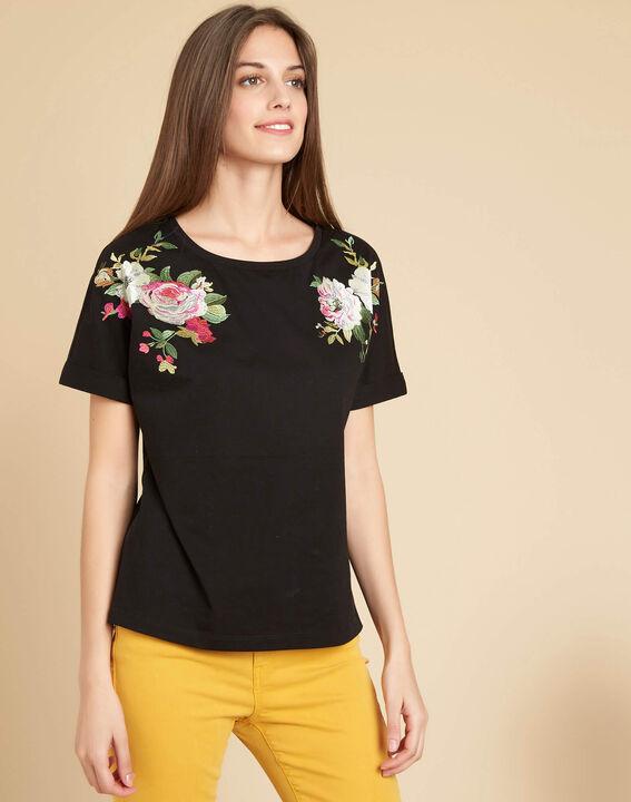 Schwarzes T-Shirt mit Blumen Garou (3) - 1-2-3