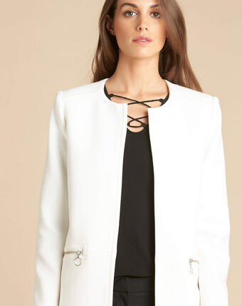 Kaya white straight-cut 3/4 length dress with zip detailing white.