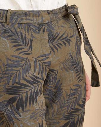 Khakifarbene zigaretten-hose aus leinen mit palmenprint jill kaki.