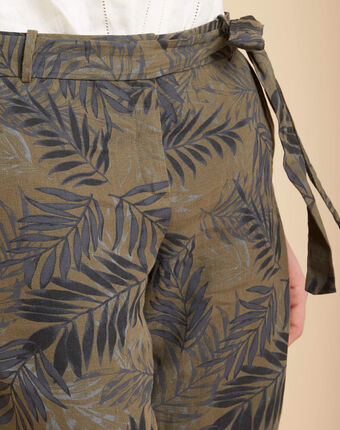 Pantalon cigarette kaki imprimé palme en lin jill kaki.
