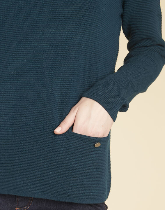 Pull émeraude détails poches Blandine (3) - 1-2-3