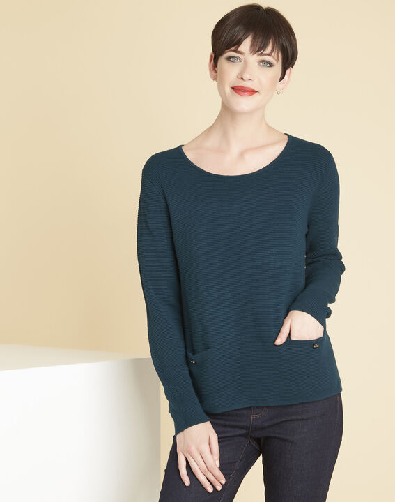 Blandine emerald green sweater with pockets PhotoZ | 1-2-3