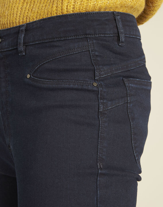Marineblaue Slim-Fit-Jeans hohe Leibhöhe Honore (3) - 1-2-3