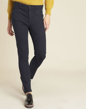 Honore navy blue slim-cut jeans with high waist violet.