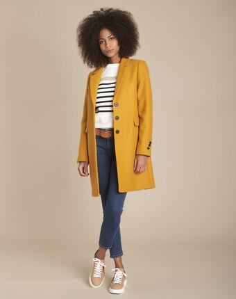 Manteau jaune droit laine mélangée plume ocre.