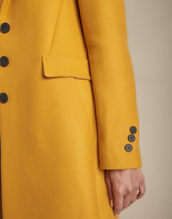 Manteau jaune droit laine mélangée Plume (3) - 1-2-3
