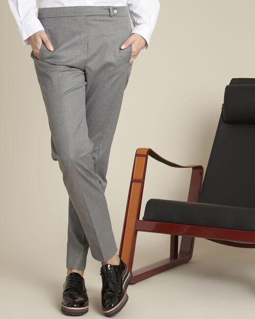 Pantalon cigarette gris zippé en viscose Lara (2) - 1-2-3