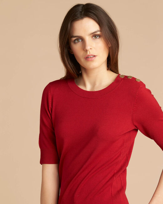 Natacha red sweater with rounded neckline (1) - 1-2-3