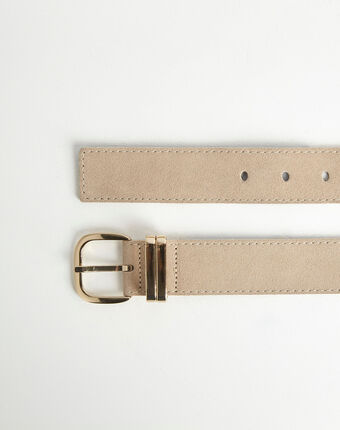 Rime velvet-effect wide beige leather belt beige.