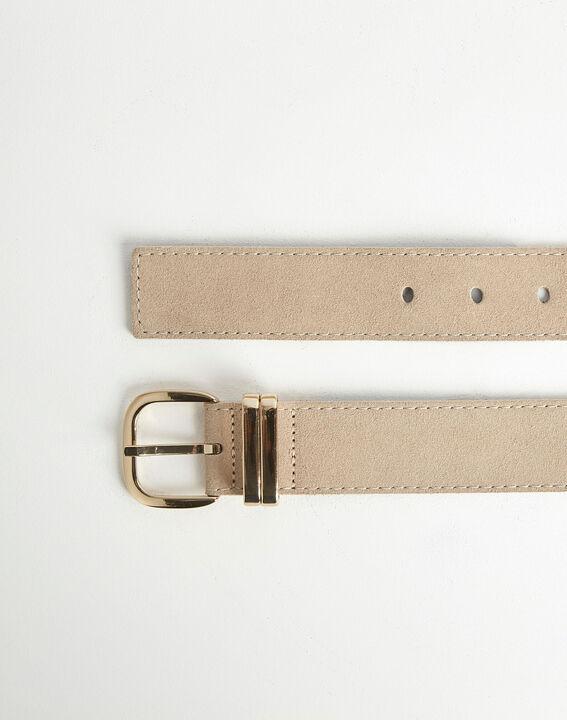 Rime velvet-effect wide beige leather belt PhotoZ | 1-2-3