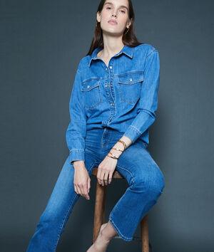 Jean vintage flare en coton bio bleu délavé Pamela