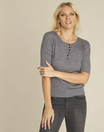 Pull gris encolure boutonnée laine mélangée basso chine moyen.