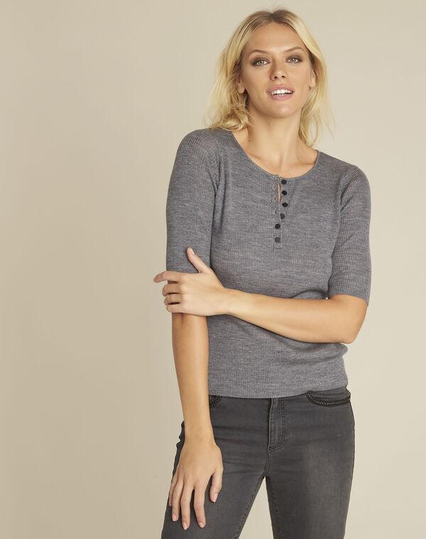 Grijze trui met knopen aan de halslijn van gemengd wol Basso (1) - 37653