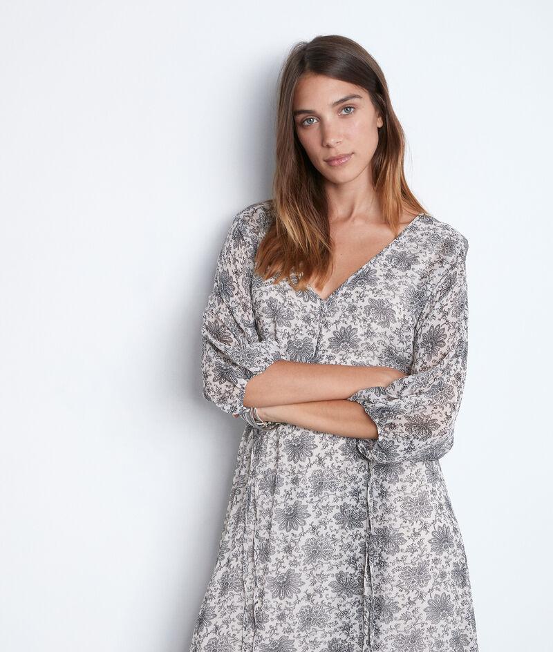 Robe longue vaporeuse à l'imprimé noir et blanc Shelly PhotoZ | 1-2-3