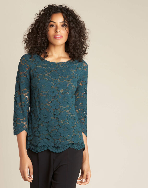 Geraldine forest green blouse with lace (3) - 1-2-3
