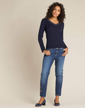 Newyork navy blue sweater in wool and silk with shiny neckline navy.