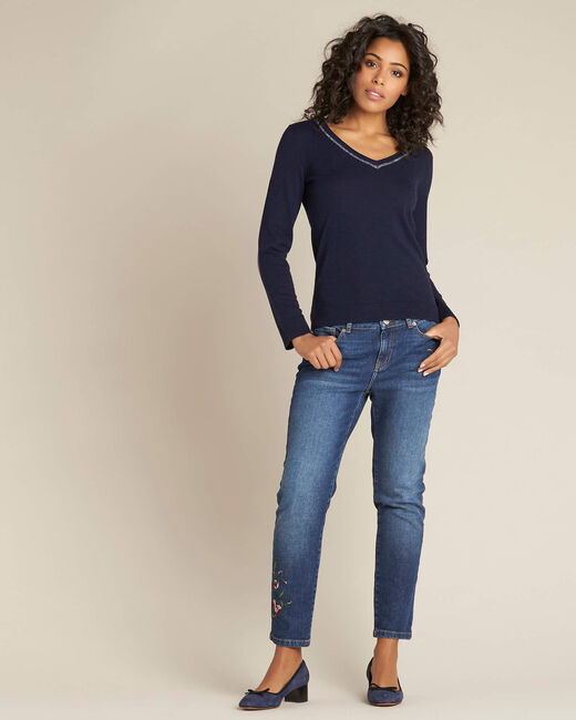 Newyork navy blue sweater in wool and silk with shiny neckline (1) - 1-2-3