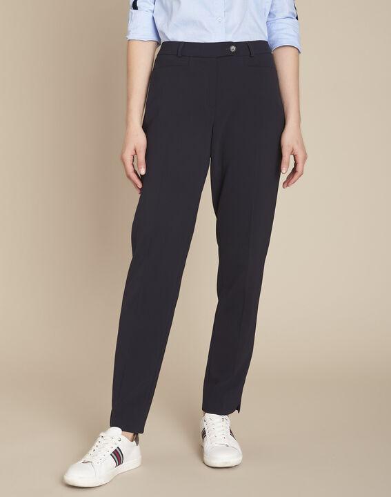 Valero navy microfibre cigarette trousers (1) - Maison 123