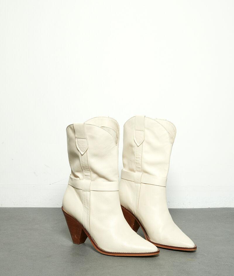 Boots à talons en cuir souple écru Halma PhotoZ | 1-2-3