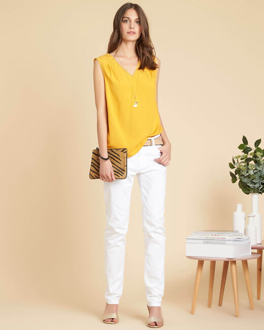 Geden yellow V-neck embroidered top (1) - 1-2-3