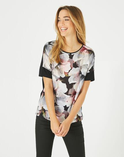 Tee-shirt noir imprimé fleurs Blush (3) - 1-2-3