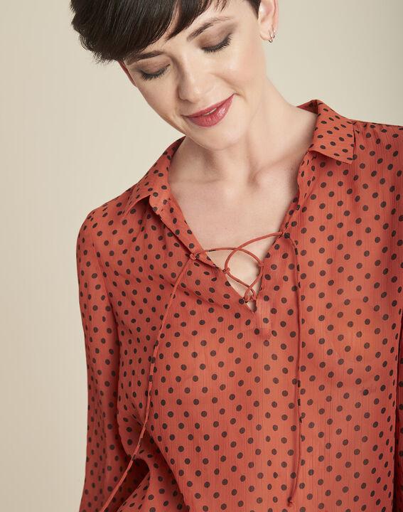 Oranje blouse met stippen en veterhals Caroline (3) - 37653