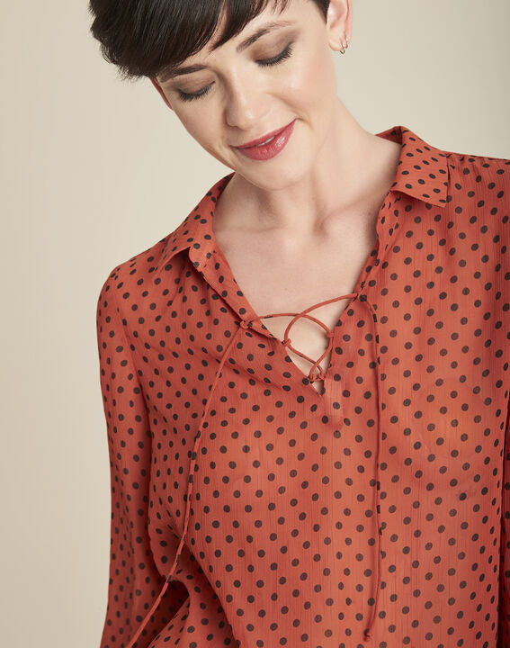 Caroline orange polka dot blouse with laced neckline (3) - 1-2-3