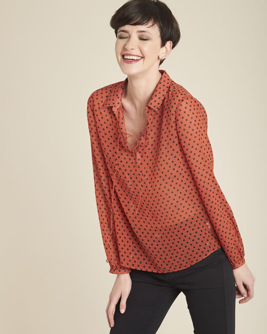 Blouse orange à pois encolure lacée Caroline (2) - 1-2-3