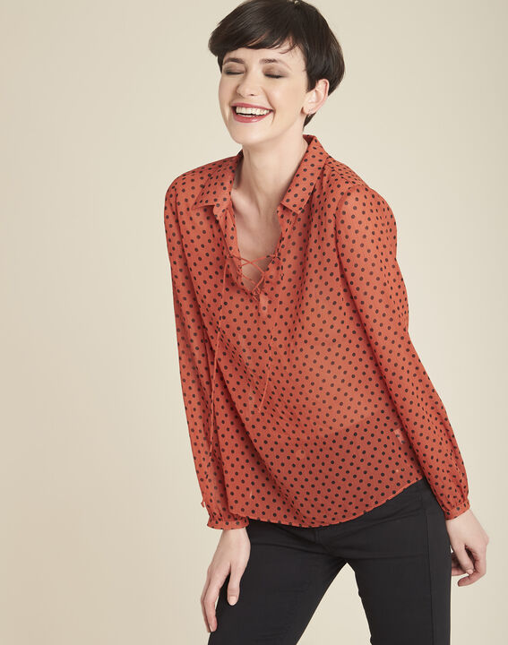 Blouse orange à pois encolure lacée Caroline PhotoZ | 1-2-3