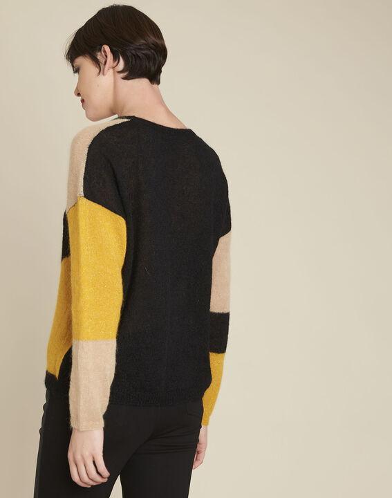 Schwarzer Pullover mit Color-Blocking aus Alpaka und Mohair Bloqui (4) - 1-2-3