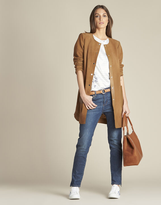 Manteau long camel cuir velours et détails cuir Tamara (3) - 1-2-3