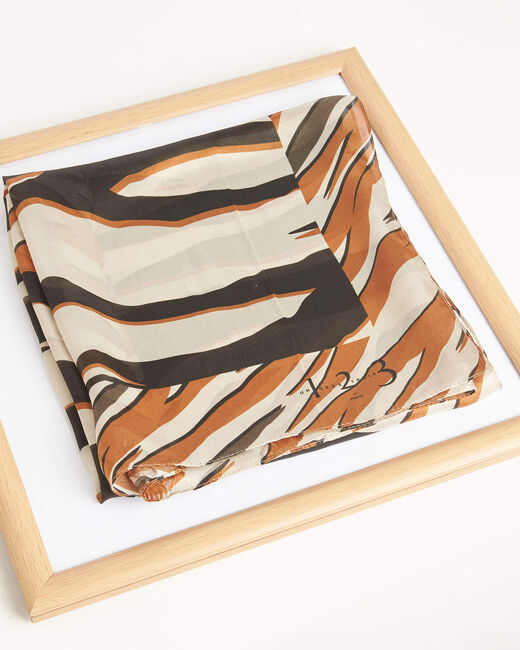 Carré de soie marron imprimé zebre Adi (1) - 1-2-3