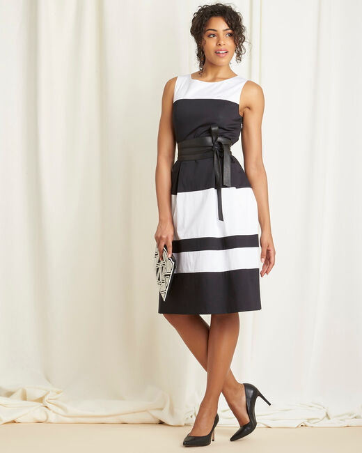 Isla black and white striped dress with original back (1) - 1-2-3