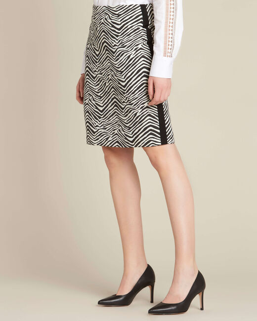 Lisa zebra printed straight-cut skirt with lateral band (2) - 1-2-3