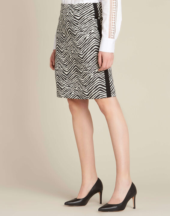 Lisa zebra printed straight-cut skirt with lateral band (3) - 1-2-3