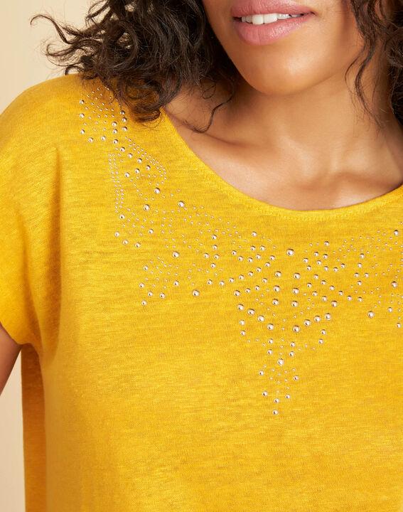Emireille yellow linen T-shirt with stud motifs  (4) - 1-2-3