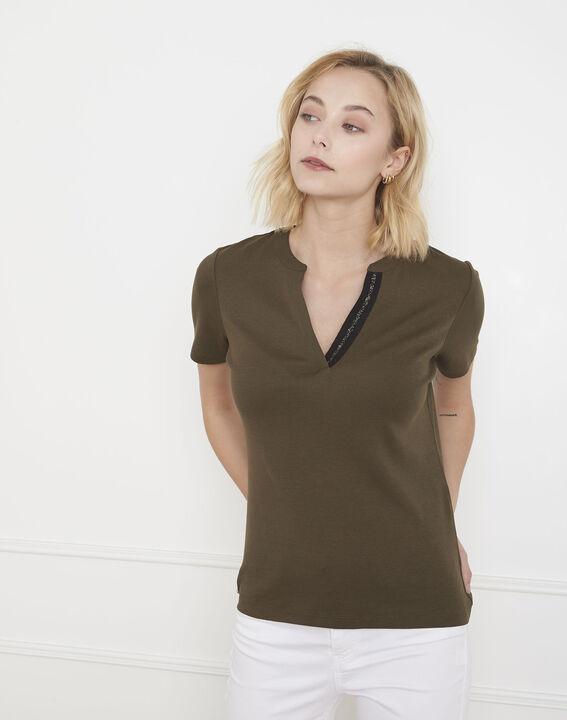 Tee-shirt kaki biais lurex Priscille (1) - Maison 123