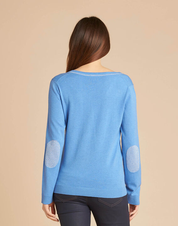 Blauer Pullover mit glänzendem Ausschnitt aus Wolle und Seide Newyork (4) - 1-2-3
